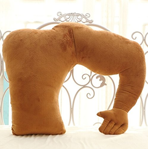 Vikenner Boyfriend Hold Pillow Muscle Arm Support Pillow Soft Man Hug Body Sleep Cushion Cojín de Peluche Caliente para Silla de Coche Asiento Cama Sofá - Marrón - 58cm