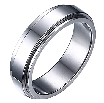 HIJONES Women s Stainless Steel Silver Spinner Band Ring 6mm Size 8