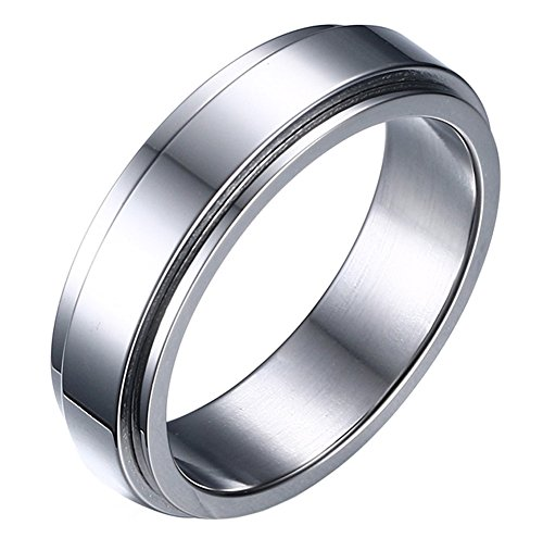 HIJONES Women's Stainless Steel Silver Spinner Band Ring 6mm Size 11