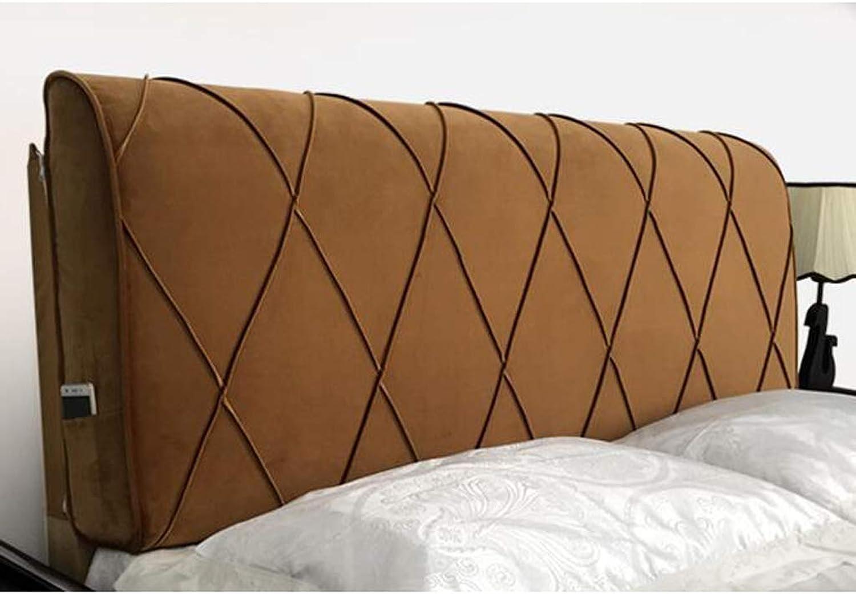 HBJP Lit Soft Pack Housse de lit en Bois Massif Coussin en éponge Grand Dossier Oreiller Flanelle Amovible et Lavable Chevet Grand Dossier (Couleur   E, Taille   200  60  12cm)
