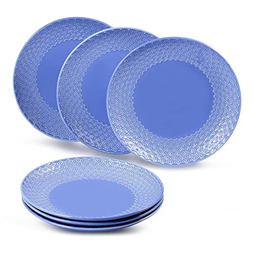 suntun Platos Llanos de Porcelana 6 piezas, 10' Redondos Azul Real Platos de Cena para 6 Personas, Nueva Porcelana de Hueso Juego de Plato Plano Grande, Vajillas Platos Retro, Diseño en Relieve