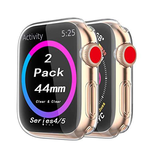 Cerike Kompatibel mit Apple Watch Series 5/Series 4 44mm Displayschutz, (2 Stück)Soft Slim FullAround Protective hülle Schutzhülle für iWatch Series 5/Series 4 SmartWatch (44MM, Transparent)