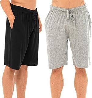 Best Deals Direct UK Mens Twin Pack Lounge Shorts Stretch Jersey Sleep Night Wear Pyjamas PJ Bottoms (3XL, Black & Grey)