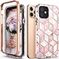 Hasaky for iPhone 12 Pro Case,iPhone 12 Case,Dual Layer Hybrid Bumper Cute Marble Design Soft TPU+Hard Back Heavy Duty Shockproof Protective Phone Case for iPhone 12 5G 2020 6.1 Inch -Pink/Rose Gold.