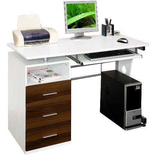 hjh OFFICE Buerostuhl24 673950 Schreibtisch/Computertisch Sirius, weiß/walnuss