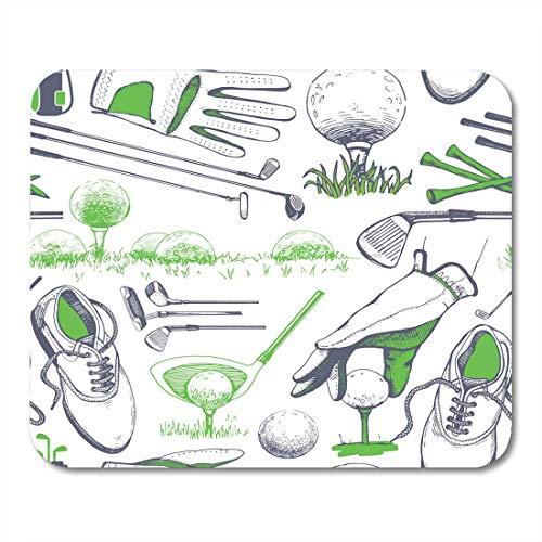 Mauspads Weiße Hand Golf mit Korb Schuhe Auto Putter Ball Handschuhe Flagge Tasche von Sportgeräten im Skizzenstil Mauspad für Notebooks, Desktop-Computer Büromaterial