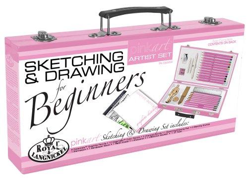 Royal & Langnickel Pink Art Beginner Artist Sketching and Drawing Wood Box Set