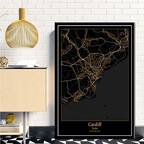 SERTHNY afdrukken schilderij afbeeldingen, Cardiff Wales Vietnam zwart & Amp; Gold City Light Maps Custom Wereld Stadsplan poster kunstdruk op canvas in Scandinavische stijl Wall Art Home Decor 70x100cm (27.55×39.37inch)no frame