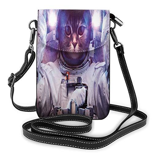 Women Mini Purse Crossbody of Cell Phone,Kitty in Cosmonaut Suit in Galaxy Stars Supernova Design Image