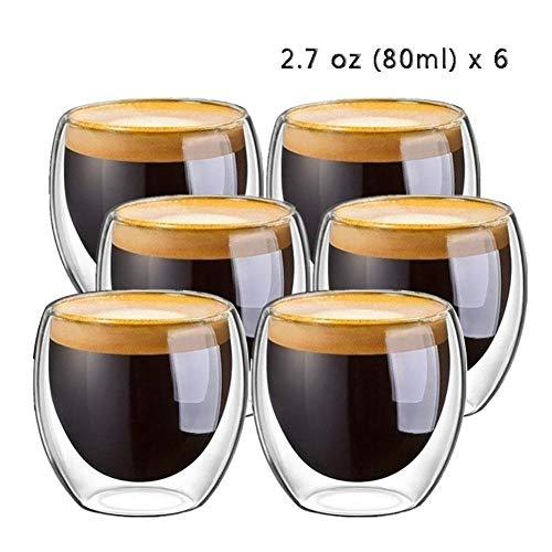 6 piezas 80 ml 2,7 oz vidrio de doble pared con aislamiento térmico vaso espresso taza de té taza de café tazas de ceramica creativas-6pcs
