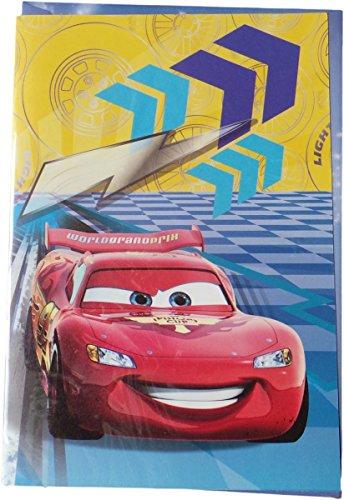 Disney Cars Geburtstagskarte - World Grand Prix - mit Glitzereffekt - Motiv 2