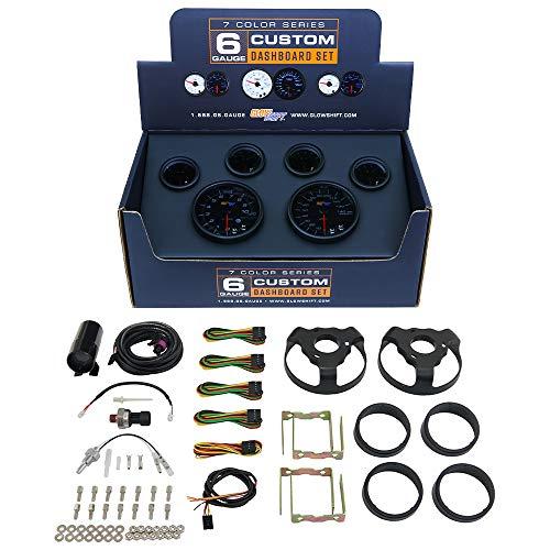 GlowShift Tinted 7 Color Custom Cluster Dashboard 6 Gauge Set - 3-3/4' (95mm) Speedometer & Tachometer - 2-1/16' (52mm) Fuel Level, Oil Pressure, Water Temperature & Volt Gauges