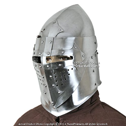 Functional 16G Steel Medieval Knight Pig Face Bascinet Helmet WMA SCA LARP Armor