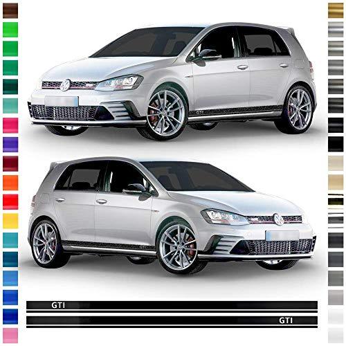 Auto-Dress® Seiten-Streifen Aufkleber Set/Dekor passend für VW Golf 7 in Wunschfarbe - Motiv: GTI Lang (Schwarz-Glanz)