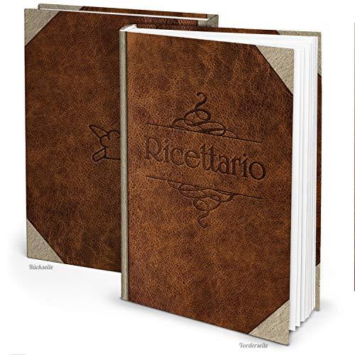 Logbuch-Verlag - Libro di ricette da scrivere con titolo italiano con e senza angoli in metallo ohne Metallecken Effetto pelle marrone.