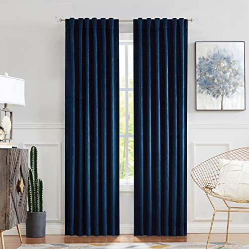 "Central Park Navy Blue Velvet Window Curtain Room Darkening 90% Blackout Panels Rod Pocket Back Tab Geometric Embossed Trellis Themal Weave Drapes for Living Room and Bedroom (52"" Wx63 L, 2 Panels)"
