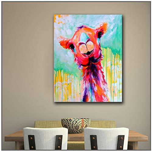 LingYuKeJi Leinwanddrucke Ölgemälde Mode Großformat Druckfarbe Giraffe Kopf Wandkunst Bilder für Wohn- und Schlafzimmer -60x90 cm / 23,6