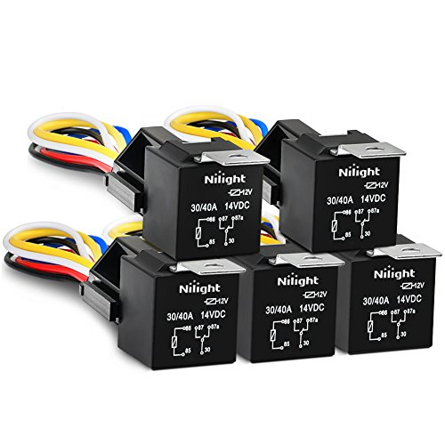 Nilight 50003R Automotive Set 5-Pin 30/40A 12V SPDT with Interlocking Relay Socket and Wiring Harness-5 Pack, 2 Years Warranty