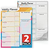 Arteza Planificador semanal   21,6 x 28 cm   Paquete de 2 blocs  60 hojas x 2   Papel de 100 gramos   Organizador semanal para gestionar prioridades, comidas, ejercicio, tareas y citas del calendario