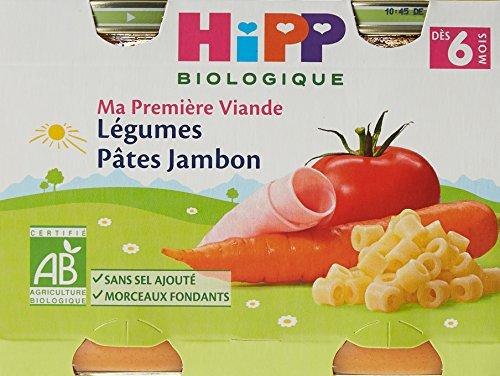 HiPP Biolologique Ma Première Viande Légumes Pâtes Jambon / Carottes Pommes de terre Bœuf / Haricots verts Pommes de terre Poulet dès 6 mois - 12 pots de 190g