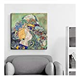 feitao Gustav Klimt Baby Cradle Canvas Painting Posters Prints Wall Art Painting Decorative PicturesHome Decoration Art-24x24 Pulgadas Sin Marco