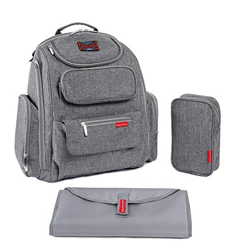 Diaper Bag Backpack by Bag Nation | Large Capacity Unisex Baby Bag with Stroller Straps, Changing Pad and Sundry Bag - Holds All Your Baby's Essentials - Grey