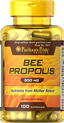 Bee Propolis Capsules 100% Natural High Quality 500 Mg 100 capsules. Comparable to Bee Pollen by Puritan's Pride 1 Bottle by Puritan's Pride Inc