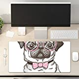 Desk Pad Non-Slip PU Leather Desk Mat Cute Pug Dog Wears Pink Bowtie and Glasses Lovely Pet Gaming Mouse Pad Keyboard Laptop Desktop Computer Mat for Office Home 31.5