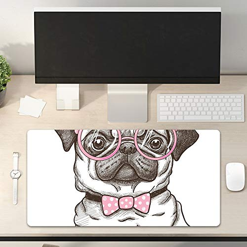 Desk Pad Non-Slip PU Leather Desk Mat Cute Pug Dog Wears Pink Bowtie and Glasses Lovely Pet Gaming Mouse Pad Keyboard Laptop Desktop Computer Mat for Office Home 31.5' x 15.7'