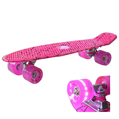 Retro Kinder Skateboard Mini Cruiser (Pink) mit LED Leuchtenrolle