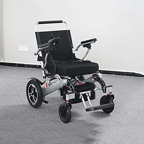 FANGX Silla de Ruedas eléctrica Ligera Batería de Litio Doble, aleación de Aluminio de 17 kg Silla de Ruedas eléctrica Plegable, Freno automático, Carga Segura 140 kg (15~20 km)