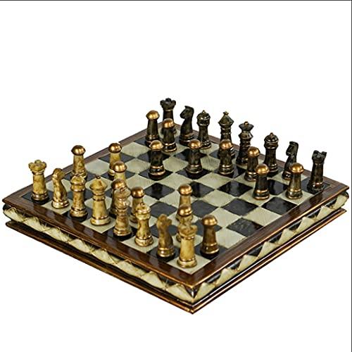 LYLY Juego de ajedrez internacional juego de tablero de ajedrez de resina adornos de ajedrez country retro decoraciones para el hogar regalos creativos (tamaño : 10 pulgadas)