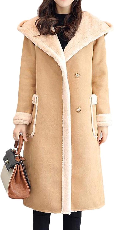 SELX Women Winter Lapel Solid Faux Suede Lamb Wool Long Coat Shearling Jackets