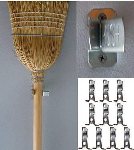 Bulldog Clamp (10 Pack) Spring Grip Garage Closet Wall Organizer for Brooms, Mops, Rakes, Etc.