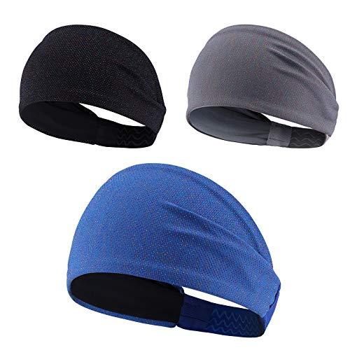 Sport Stirnband für Männer und Frauen,Anti-Rutsch Schweißband.Sport Haarband für Yoga,Fitness,Laufen,Radfahren,Training,Wandern und Motorradfahren,Stretchy, Breathable, Moisture Wicking,3er-Pack