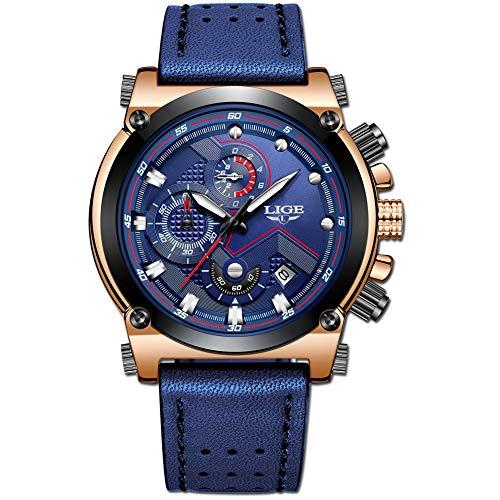 LIGE Hombre Relojes Moda Impermeable Relojes Clásico Negocios Analogicos Cuarzo Relojes con Ocio Azul Correa de Cuero Relojes