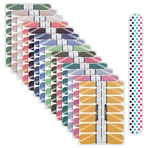 Firtink 28 Blatt Glitzer Nagelaufkleber mit Nagelfeilen Nagelfolie Selbstklebend Nagelkunst Aufkleber Nagelkunst Sticker Selbstklebende Maniküre Sticker