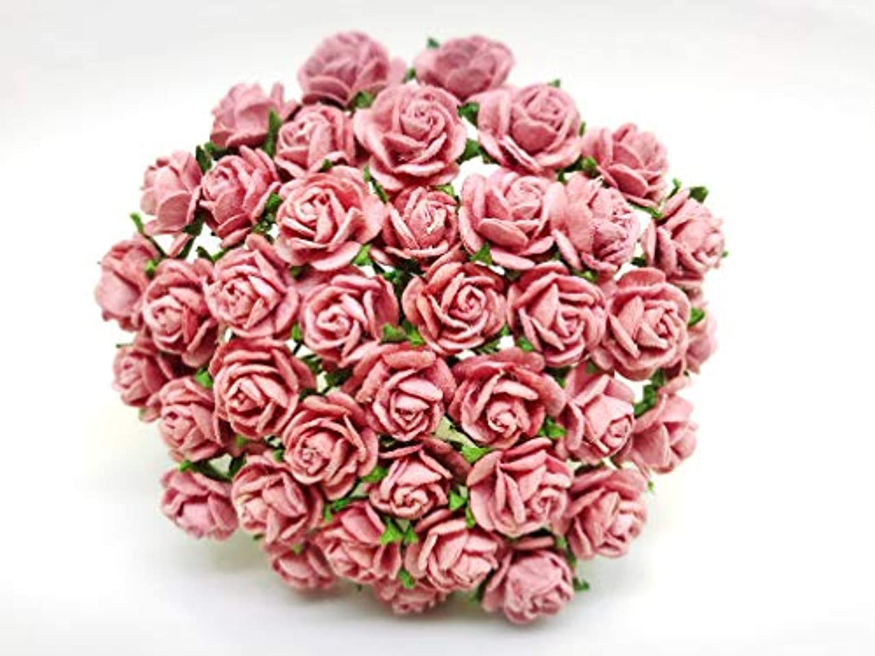 Tyga_Thai Brand 50 pcs. Dusty Pink Color Rose Mulberry Paper Flower Craft Handmade Wedding 10 mm. Scrapbook for so Many Card & Craft Projects CMR1-4#107 (MULBERRY-PAPAER-ROSE-10MM)