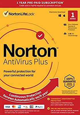 Norton AntiVirus Plus – Antivirus Software for 1 Device with Auto-Renewal - Includes Password Manager, Smart Firewall and PC Cloud Backup [Key Card]
