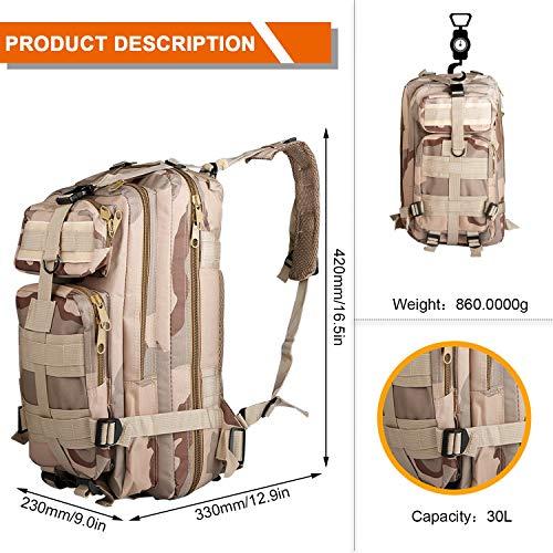 Military Taktischer Rucksack, 30 l, Unisex, Sandfarben