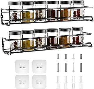 Piashow Lot de 2 étagères à épices - Sans perçage - Mural - Pour épices, cuisine, placard, salle de bain, rangement pratiq...
