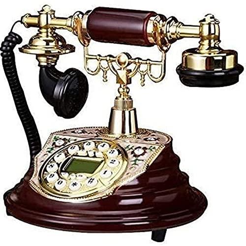 HAOJON Teléfono Fijo Teléfono Fijo Familia Retro Europea Botón con Cable Dial Teléfono Fijo Fijo de Gama Alta