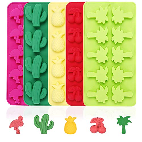 Fewo 5 Pack Hawaiian Tropical Themed Ice Cube Tray Summer Silicone Molds for Chocolate Candy Gummy Fruit Snack Fat Bomb Jello Mini Soap Crayon Melt (Cactus Pineapple Flamingo Coconut Tree Cherry)