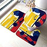 Juego de alfombras de baño en calle de rodaje Ilustración de vector de estilo plano Juegos de alfombrillas antideslizantes para alfombras de baño, cubierta de almohadilla para inodoro Alfombrilla de