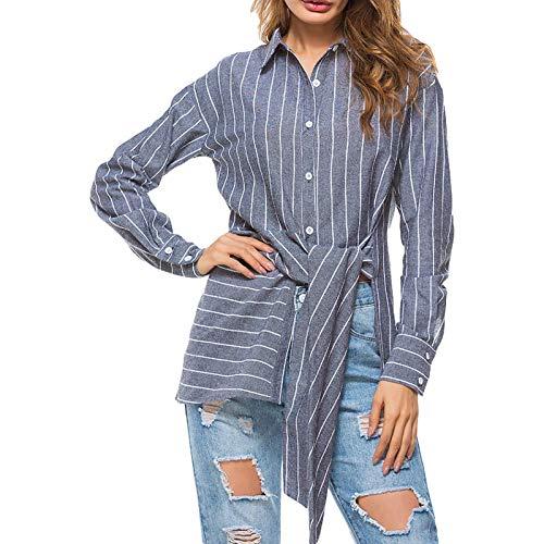 Camisas Casuales para Mujer, Moda de otoño, Cuello Vuelto, Estampado a Rayas, Cintura asimétrica con Cordones, Camisa de Manga Larga M