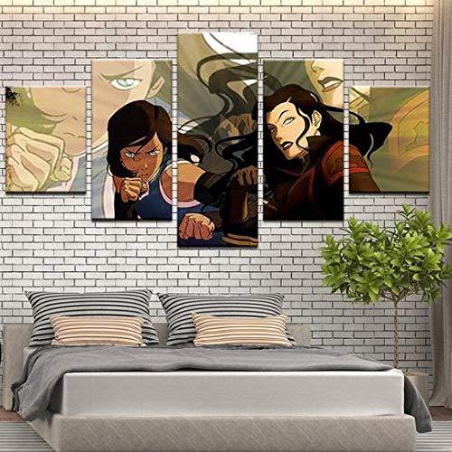 MOXIGE Bilder Legende von Kora -Anime Bild Auf Leinwand 5 StüCk Moderne Bilder Wohnzimmer Set Mit Rahmen 5 Teilig 3D Bilder Leinwand/KüChe Bild Schlafzimmer/Badezimmer-100 x 55 cm