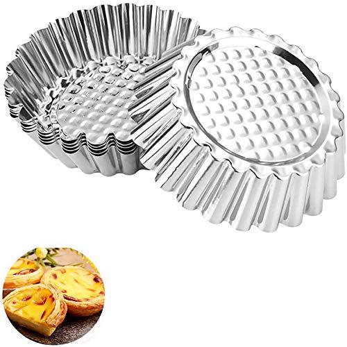 jingming 15 Stück Cupcake Kuchenform, Edelstahl Eierkuchen Cupcake, Kuchen Cookie Blume geformte Form Pudding Mold Küche Wiederverwendbare Backen Werkzeug, Silber
