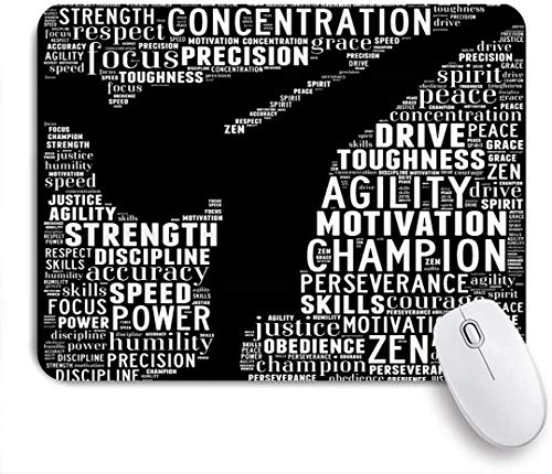 GEEVOSUN Mouse Pad Collage Training Essence Martial Arts Text Graphics Karate Sports Recreation Kickboxing Leadership Customized Mousepad Non-Slip Rubber Base for Computers Laptop Office