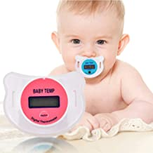 HBIAO Digital LCD Baby Thermometer, Dummy Pacifier Quick Accurate Read Out Display Temperature Monitor Measurement Fever Device Safety Hygienic,Red