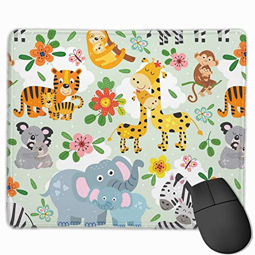 Cute Animals with Their Baby Mouse Pad with Stitched Edge Non-Slip Rubber Base Mouse Mat for Laptop Computer